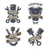 Комплект автоматических логотипов, гараж, обслуживание, запасные части иллюстрация вектора