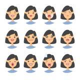 Комплект азиатского характера emoji Значки эмоции стиля шаржа Изолированные воплощения девушки с различными выражениями лица Плос Стоковая Фотография