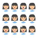 Комплект азиатского характера emoji Значки эмоции стиля шаржа Изолированные воплощения девушки с различными выражениями лица Плос Стоковое Фото