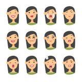 Комплект азиатского характера emoji Значки эмоции стиля шаржа Изолированные воплощения девушки с различными выражениями лица Плос Стоковые Изображения RF