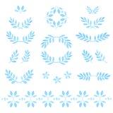 Комплект акварели вектора выходит, значки, флористические Стоковые Изображения