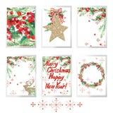 Комплект акварели с Рождеством Христовым для поздравительных открыток праздника Стоковое фото RF
