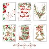 Комплект акварели с Рождеством Христовым для поздравительных открыток праздника Стоковая Фотография