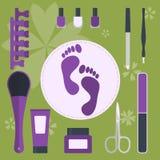 Комплект аксессуаров и инструментов для pedicure и маникюра Стоковое фото RF