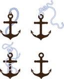 Комплект анкеров с цепями и веревочками иллюстрация вектора