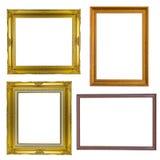 Комплект антиквариата золотой рамки винтажного изолированного на белой предпосылке Стоковое Изображение RF