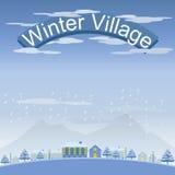 Комплект ландшафта деревни и городка зимы иллюстрация штока