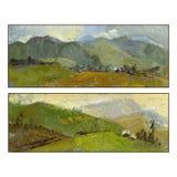 Комплект 2 ландшафтов горы лета река картины маслом ландшафта пущи Стоковое фото RF