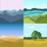 Комплект ландшафтов изображений Стоковое Фото