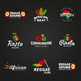 Комплект африканского логотипа вектора звука rastafari конструирует Стоковое Изображение RF