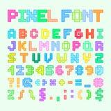 Комплект алфавита, писем и номеров искусства пиксела Стоковое Изображение