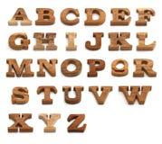 Комплект алфавита сделанный от древесины стоковые изображения