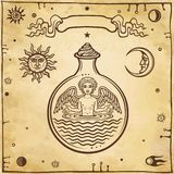 Комплект алхимических символов Ребенок в пробирке, гомункулус, химическая реакция бесплатная иллюстрация