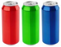Комплект алюминия цвета банка пива 500 ml изолированная на белой предпосылке Стоковое фото RF