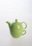 Комплект бака чая или чай фарфора бак и чашка на предпосылке Стоковые Изображения