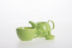 Комплект бака чая или чай фарфора бак и чашка на предпосылке Стоковая Фотография