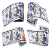 Комплект 100 банкнот доллара на белизне Стоковая Фотография
