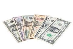 Комплект банкнот доллара на белой предпосылке Стоковые Фото