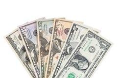 Комплект банкнот доллара на белой предпосылке Стоковое фото RF