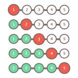 Комплект бара прогресса Индикатор сети статусной строки загрузки Отростчатая загрузка шаг за шагом иллюстрация вектора