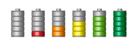 Комплект батареи вектора 3d Стоковое Изображение