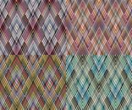 Комплект безшовной геометрической картины 4 в стиле boho Африканский мотив, абстрактный Стоковые Изображения