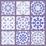 Комплект безшовной голубой картины на белой предпосылке Стоковое фото RF