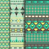 Комплект безшовной этнической картины в зеленом цвете Стоковое Фото