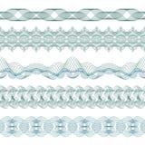 Комплект: 5 безшовных изолированных границ Guilloche для сертификата или диплома, также вектор иллюстрации притяжки corel Стоковые Фотографии RF