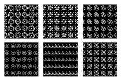 Комплект безшовных картин вектора Черно-белые геометрические бесконечные предпосылки с формами нарисованными рукой геометрическим Стоковое Фото