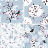 Комплект безшовных картин зимы с птицами. иллюстрация штока