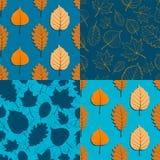 Комплект 4 безшовных картин осени в оранжевом и голубом цвете s Стоковое Фото