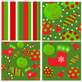 Комплект безшовных картин рождества иллюстрация вектора