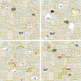 Комплект безшовных картин с голодными извергами. стоковая фотография