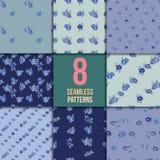 Комплект 8 безшовных картин с голубыми цветками Стоковое Изображение