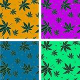 Комплект 4 безшовных картин с листьями Стоковое Изображение