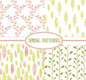 Комплект 4 безшовных картин с лист весны Стоковые Фотографии RF