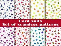 Комплект безшовных картин с костюмами играя карточек Стоковое Фото
