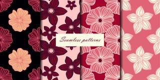 Комплект 4 безшовных картин с цветками в розовых цветах вишни Предпосылка вектора иллюстрация вектора