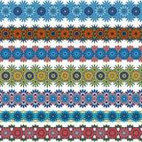 Комплект безшовных орнаментальных границ Снежинки, цветки бесплатная иллюстрация