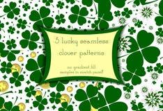 Комплект 3 безшовных цветочных узоров с удачливым зеленым клевером Стоковая Фотография