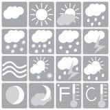 Комплект, белизна и серый цвет значка погоды Стоковое фото RF