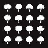Комплект белого значка дерева также вектор иллюстрации притяжки corel Стоковые Изображения
