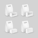 Комплект белого прямоугольника картона принимает отсутствующие коробки для завтрака ручки упаковывая для сандвича с окнами на пре иллюстрация штока
