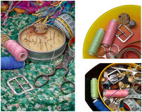 Комплект белошвейки для needlework Стоковое фото RF