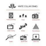 Комплект белых значков злодеяния воротника иллюстрация штока