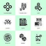 Комплект белых значков казино Стоковая Фотография RF