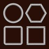 Комплект белых круглых рамок на коричневой предпосылке Стоковая Фотография