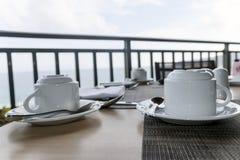 Комплект белых крышек чая Стоковое Изображение RF