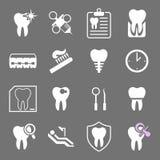 Комплект белых плоских зубоврачебных значков Стоковые Фото